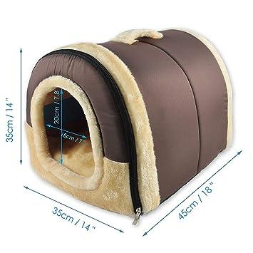 SZYTeng Casa Perro Gato 2 en 1, Cama Mascota Interior Grande o Pequeño, 2