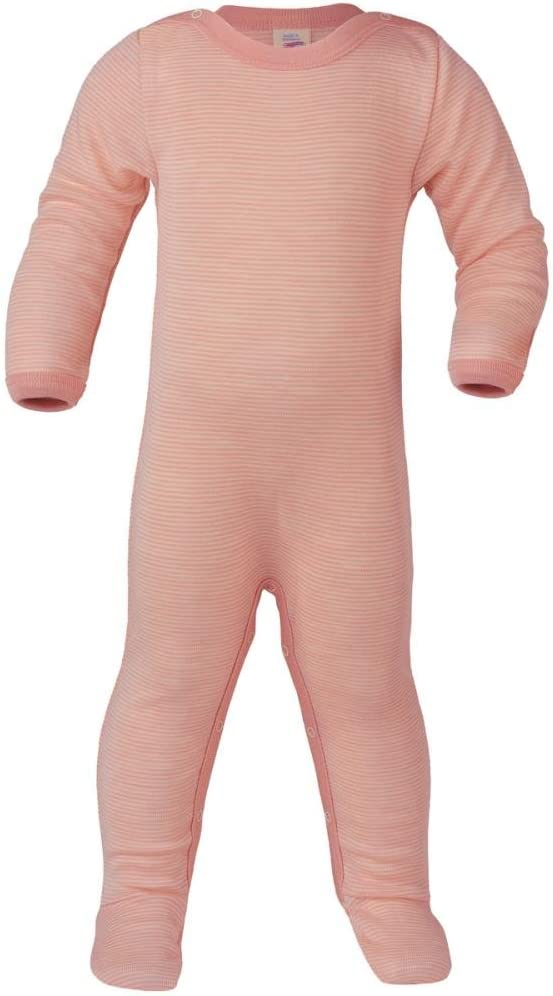 Engel Baby Grenouill/ère /à manches longues avec pied en laine bio et soie saumon//naturel 50//56