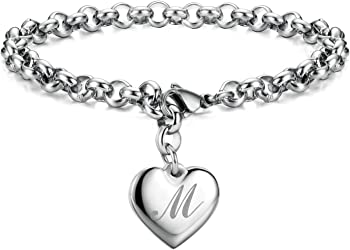Monily Initial Charm Stainless Steel Heart 26 Letters Initial Bracelet