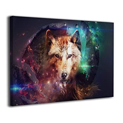 Amazon Com Hobson Reginald Wolf Wild Animal Colorful 3d Canvas Wall