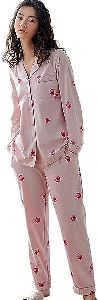 Conjunto De Pijama Mujer Primavera Otoño Fresas Pijamas Mujer Impreso Elegantes Moda Cute Vintage Albornoz Camisas Pantalones Dos Piezas Manga Largo V-Cuello Button Camisones Ropa para El Hogar: Amazon.es: Ropa y accesorios