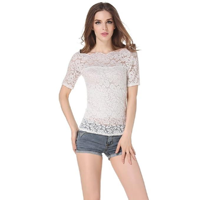 Maniche Lunga E T Shirt Donna Moda Corte Manica Pizzo Camicia A81qn
