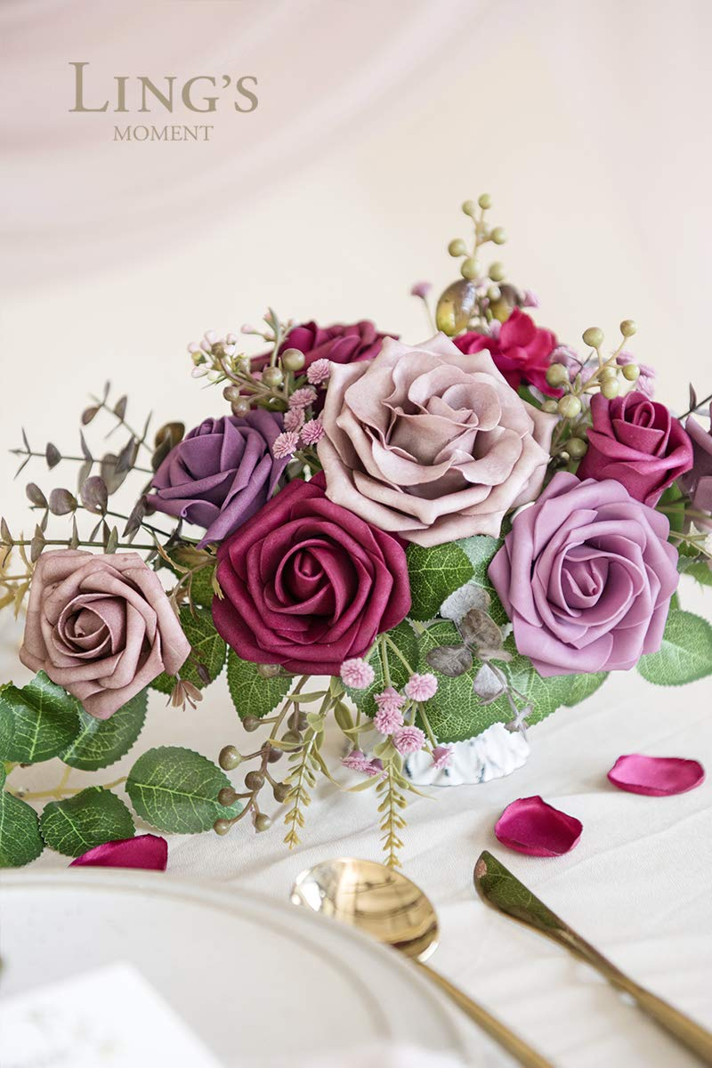 Lings moment Artificial Flowers Burnt Orange Ombre Colors Foam Rose 5 Tones for DIY Wedding Bouquets Centerpieces Arrangments Decorations