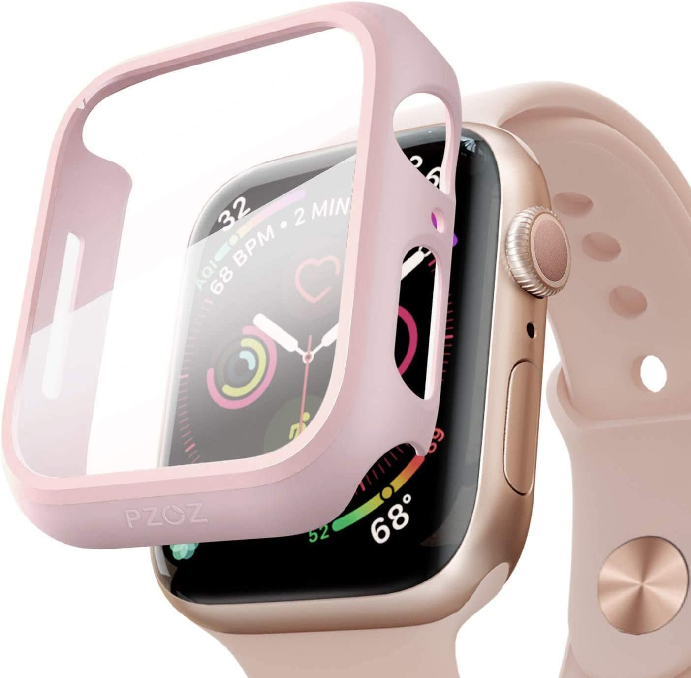 pzoz Compatible Apple Watch Series 6/5 /4 /SE 44mm Case with Screen Protector Accessories Slim Guard Thin Bumper Full Coverage Matte Hard Cover Defense Edge for Women Men New Gen GPS iWatch (Pink)