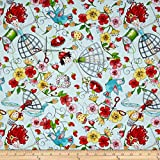 QT Fabrics Quilted Cottage Tossed Sewing Fairies, Light Turquoise