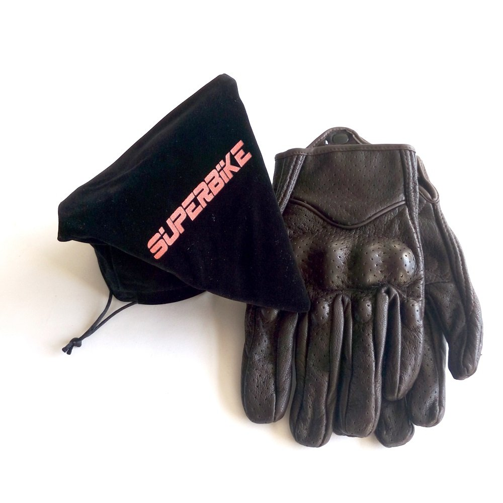 Men's Brown Motorcycle Gloves Full Finger Genuine Goatskin Leather Street Bike Gloves With Touchscreen Finger(Brown,Perforated,M) by Superbike (Image #4)