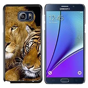 EJOOY---Cubierta de la caja de protección para la piel dura ** Samsung Galaxy Note 5 5th N9200 ** --Tigre lindo del león del bebé felino Amigos de África