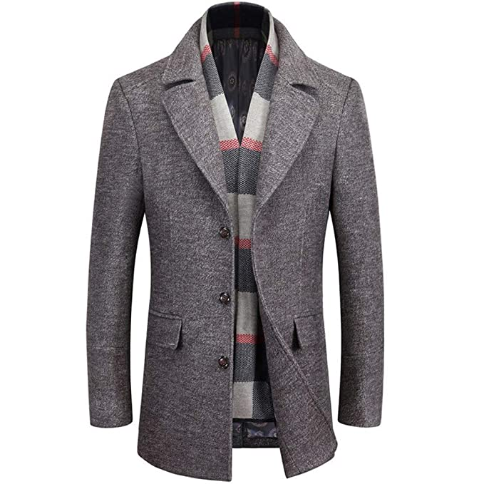 Trench Coat de Lana Largo clásico de los Hombres, otoño e Invierno Gruesa Chaqueta Cortaviento cálido Moda Slim Fit Libre Desmontable Bufanda: Amazon.es: ...