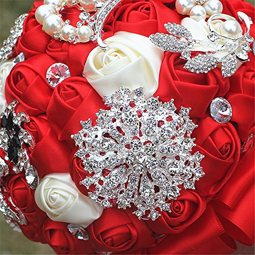 FYSTORE Bride Bouquet Milk White Crystal Wedding Rhinestone Brooch Bouquets Brides Hand Holding 18CM (Red)