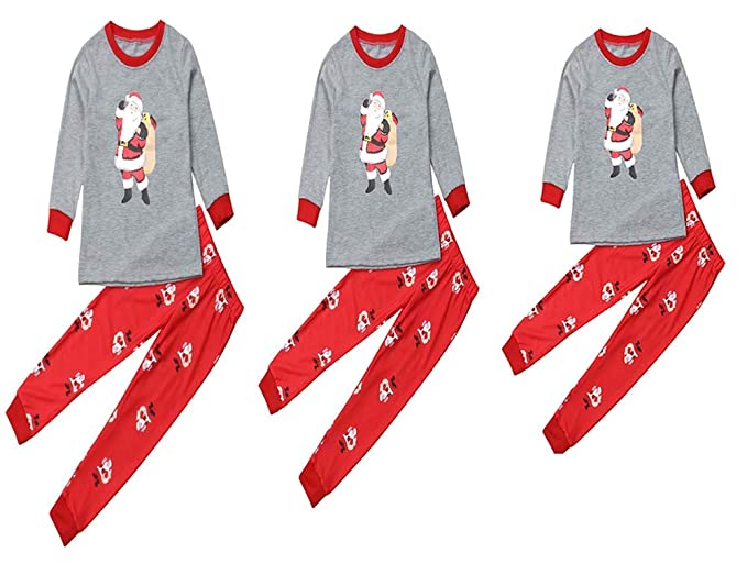 d9f4c6a221 Family Matching Christmas Pajamas Set 2 PCS Santa Claus Print Long Sleeve  T-Shirt Tops