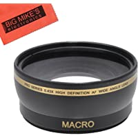 43mm 0.45x Wide Angle Lens with Macro for Canon VIXIA HFM40 HFM41 HFM400 HFM50 HFM52 HFM500 HFR30 HFR32 + MicroFiber Cleaning Cloth