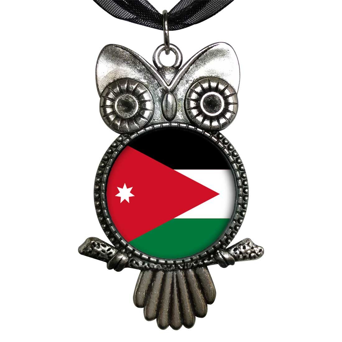 GiftJewelryShop Ancient Style Silver Plate Jordan flag Owl Charm Pendant Necklace