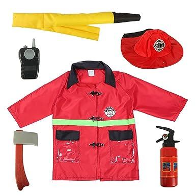 TopTie Disfraz de Bombero Infantil Disfraz de Jefe de Bomberos Red ...