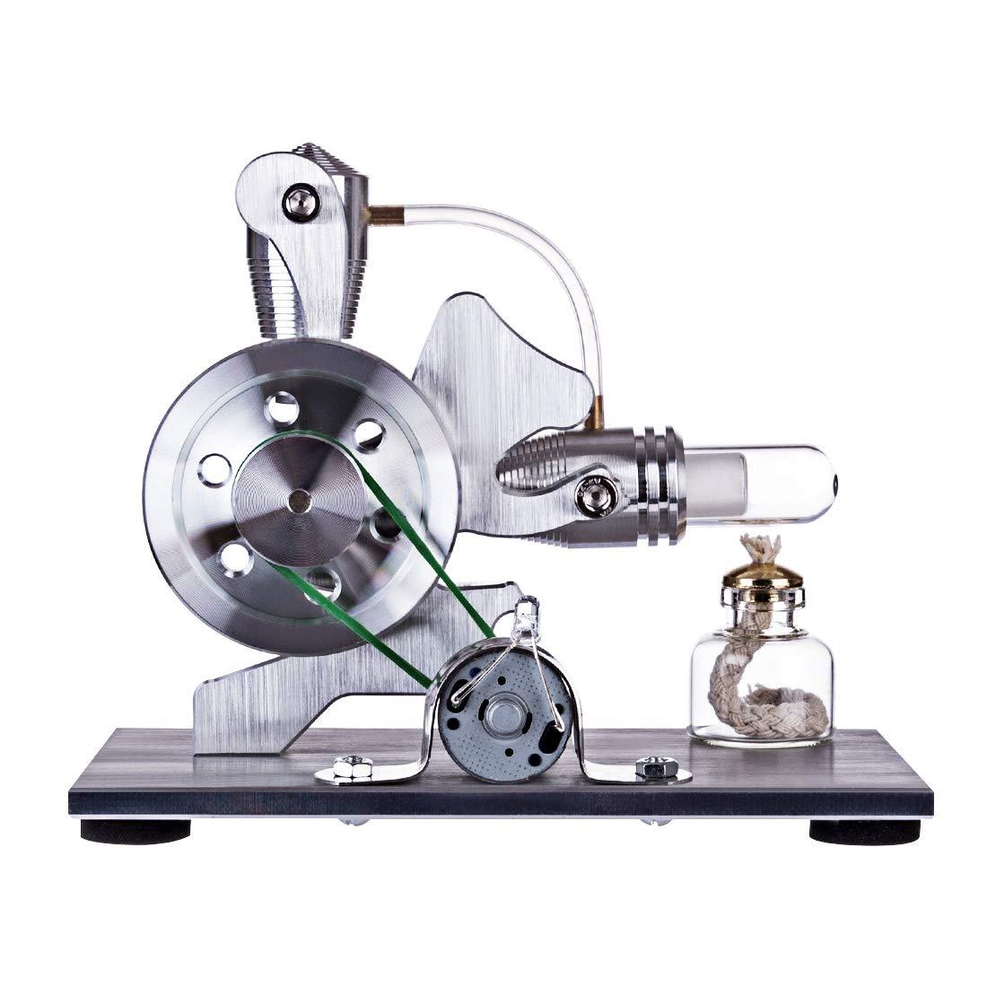 Amitas Stirlingmotor Bausatz 1 Zylinder Stirling Engine Motormodell mit Lampe Motor Spielzeug Physikalische Wissenschaft für Kinder und Teenager