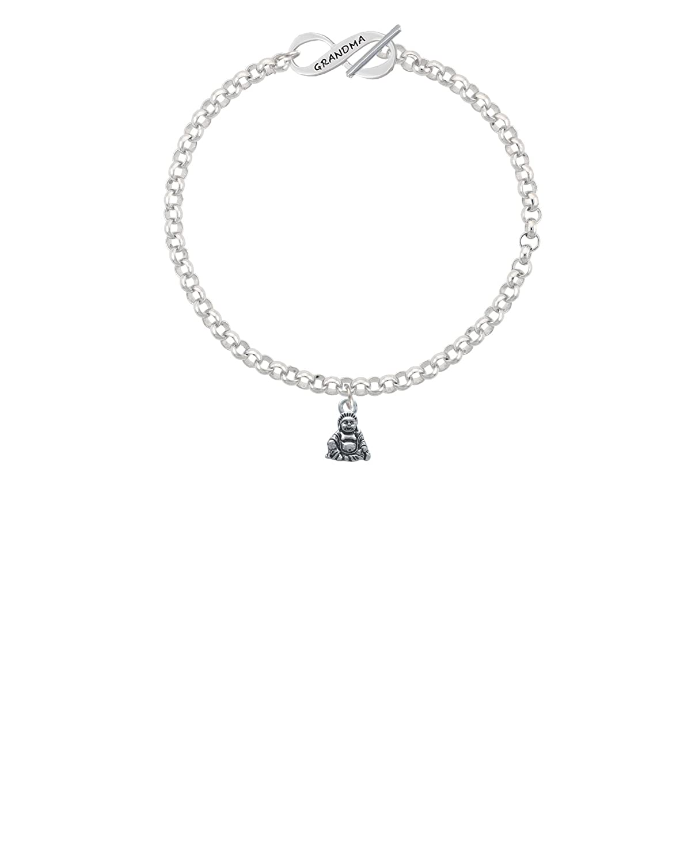 8 Silvertone Mini Buddha Grandma Infinity Toggle Chain Bracelet