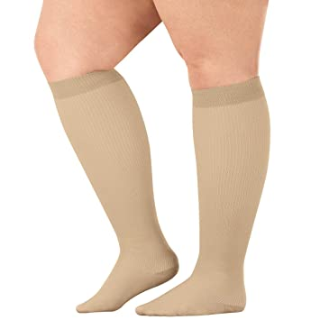 98011db856 Image Unavailable. Image not available for. Color: Silver StepsTM Wide Calf  Compression Socks ...