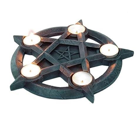 Portavelas vela de estrella de pentagrama gótico