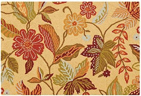 C F Home Henley Orange and Brown Floral Botanical Spring Easter Summer Wool Handcrafted Premium Hooked Indoor Area Rug 2'x3' Orange