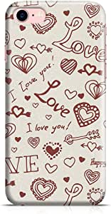 Loud Universe Valentines Gift Love Heart Pattern New Transparent Edge Durable Wrap Around iPhone 7 Case - Beige