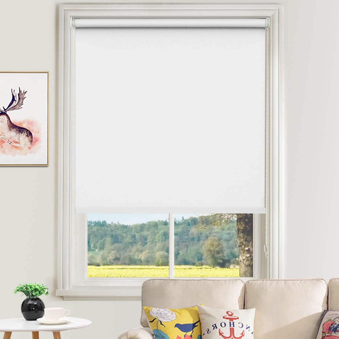 MiLin Window Shades No Tools 100% Blackout Roller Shades and Blinds, Fast Delivery Interior Window Blinds Home Darkening Coverings Easy to Install - Custom Size Polar White 14