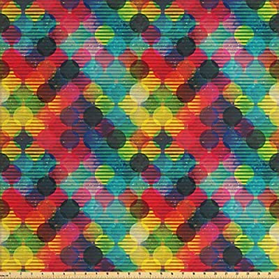 Ambesonne Digital Printed Multicolor Fabric By The Yard 3 Yards