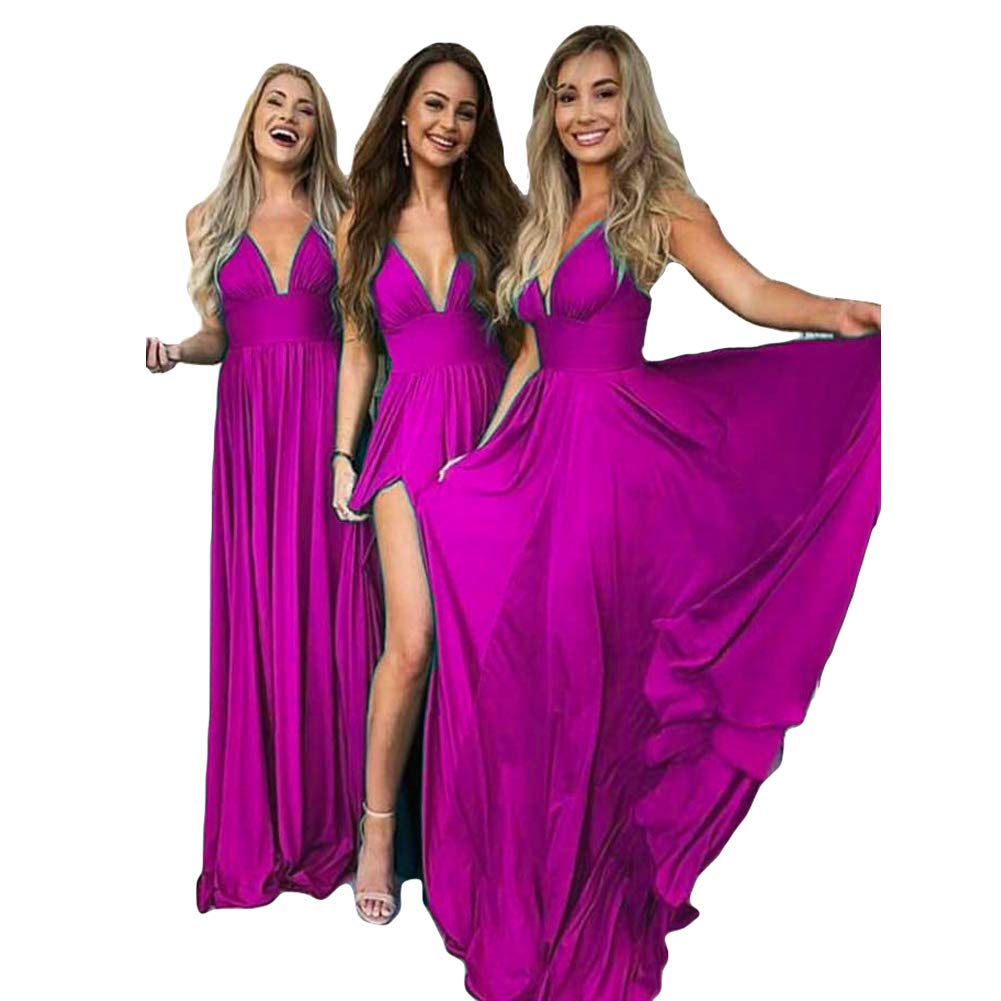 Fuchsia Dreagel Women's Aline Long Prom Dresses Sexy VNeck Sleeveless Bridesmaid Dress with Slit