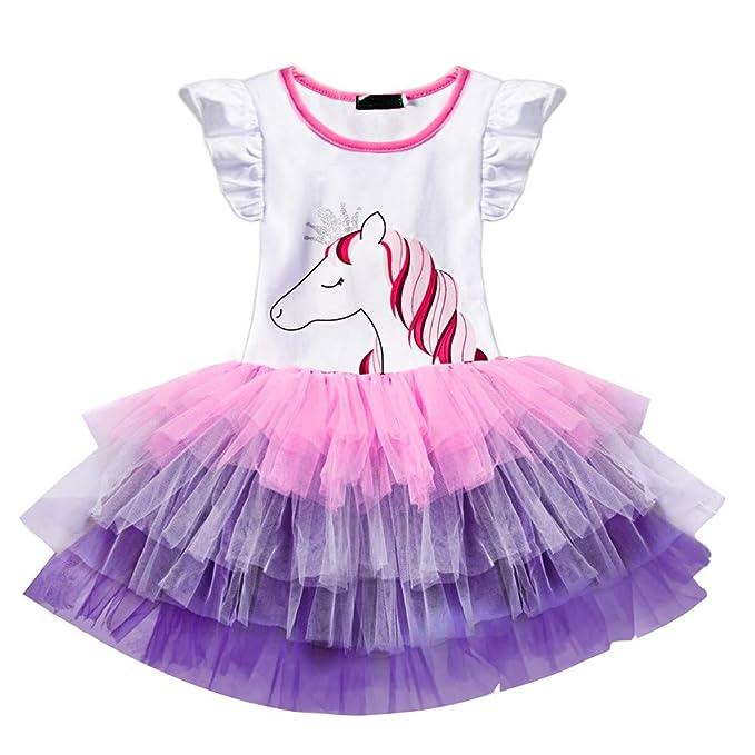 Honglang Disfraz de Unicornio de Tul para niñas