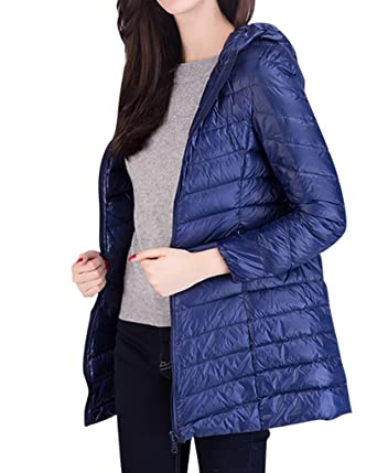 c428d90c9f87 MISSMAO Hooded Down Packable Ultra Light Weight Jacket Women Winter Warm  Long Sections Down Coat: Amazon.co.uk: Clothing