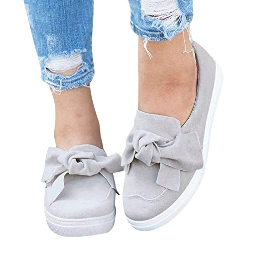460fb8f54dbcf Cenglings Women's Round Toe Flat Bowknot Loafers Slip On Sneakers Lazy  Shoes Platform Sandals