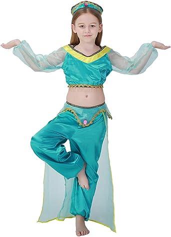 A&J DESIGN Disfraz Princesa Árabe Niña Traje Bailarina (Azul, L ...
