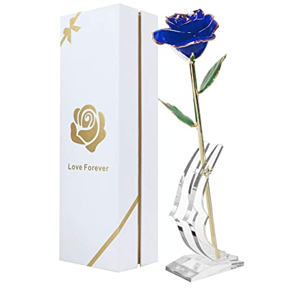 Childom Valentine Gift 24K Blue Gold Dipped Rose Made From Real Flower With Stand