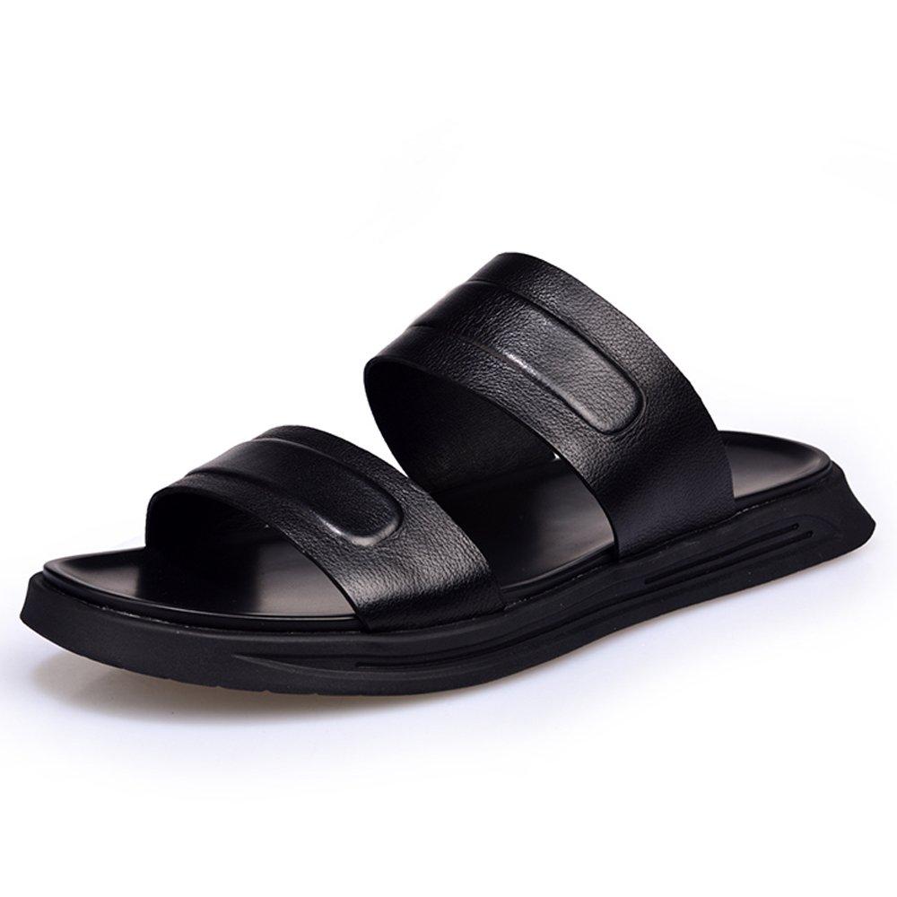 Una Palabra Zapatillas Masculinas Verano Nuevo Cuero Remolque Ocio Al Aire Libre Zapatos De Playa Marea Gruesa Inferior Antideslizante Sandalias De Cuero Y Zapatillas Black