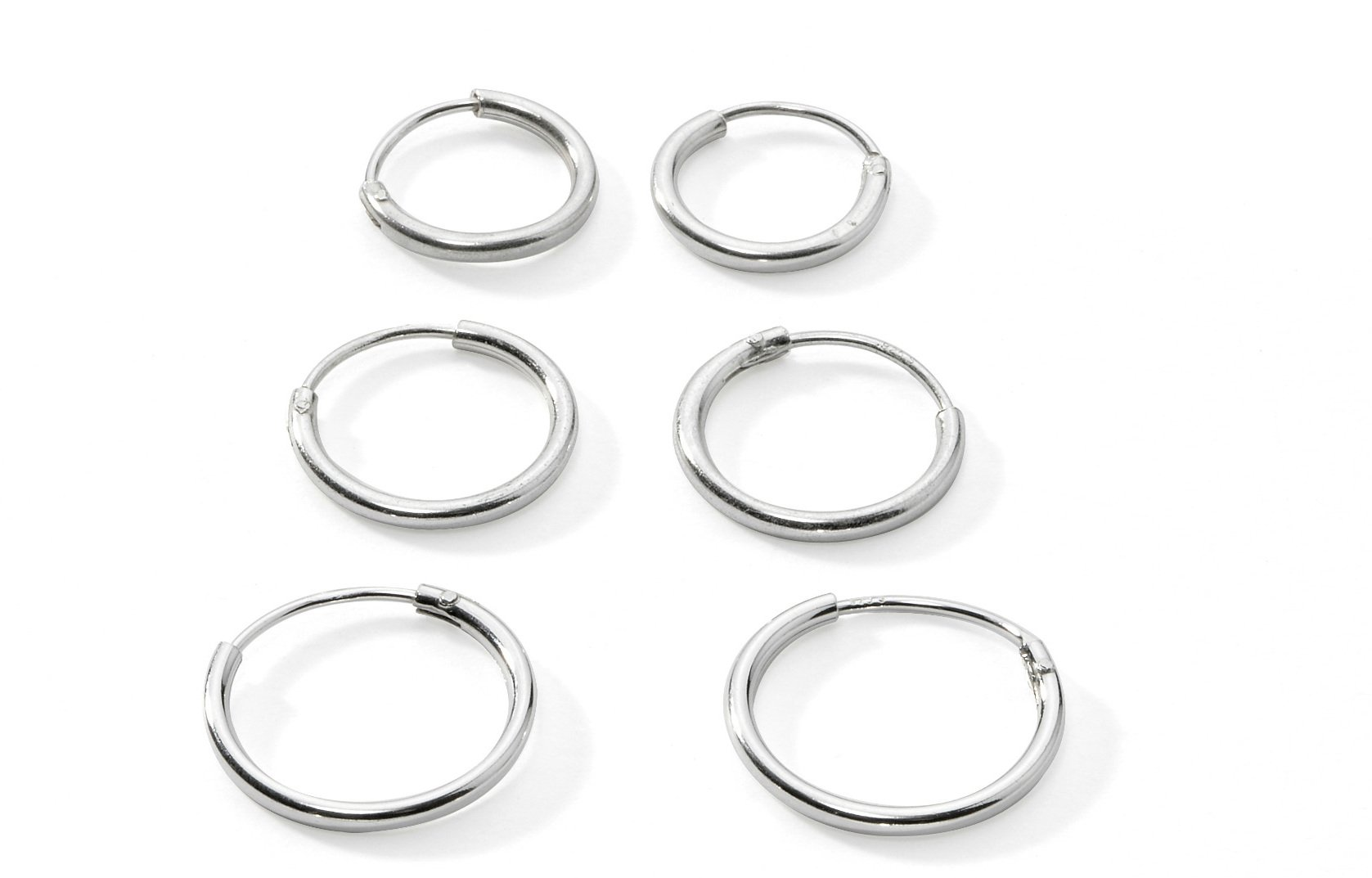Three Pairs Sterling Silver Small Endless Hoop Earrings for Cartilage, Nose or Lips, 10mm 12mm 14mm by Silverline Jewelry