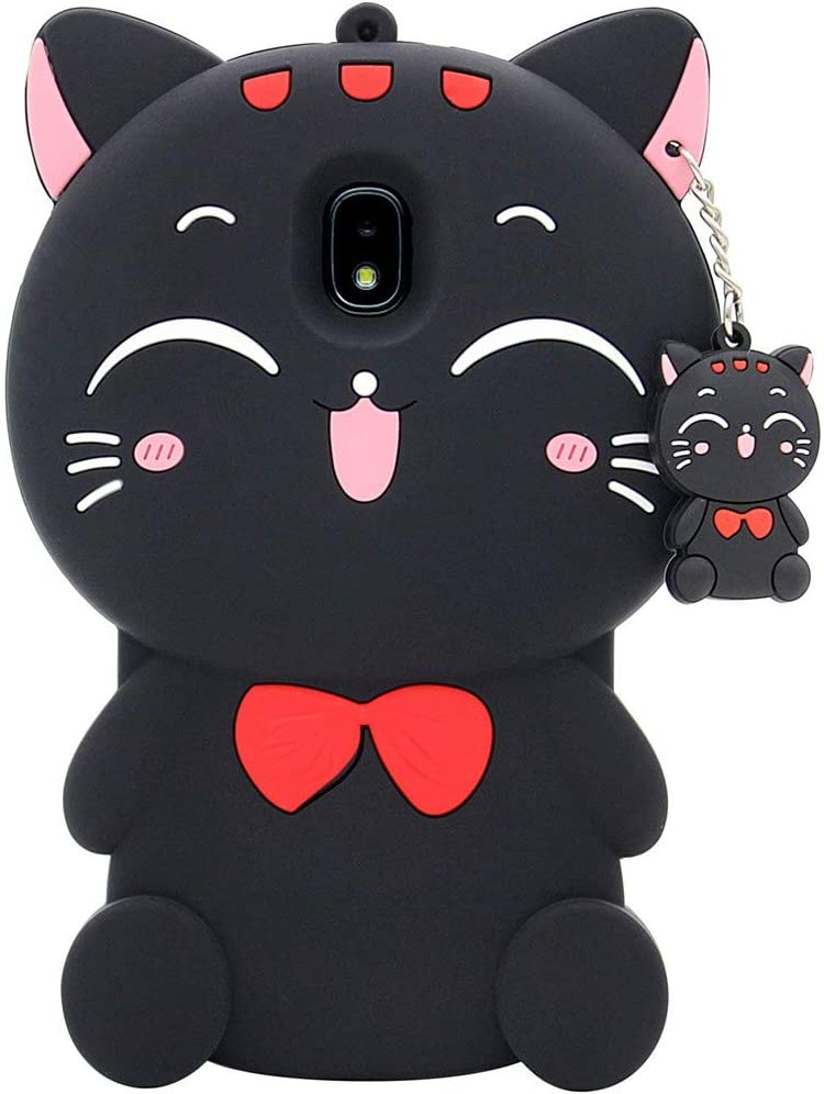Galaxy J3 Orbit Case, J3 Achieve, Express Prime 3, Prime 2, Emerge 2018, Amp Prime 3, Eclipse 2 Case, 3D Cartoon Cute Cat Kitty Animal Soft Silicone Cover for Samsung Galaxy J3 2018 Aura Star (Black)