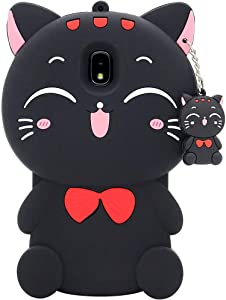 Galaxy J3 Orbit Case, J3 Achieve, Express Prime 3, Prime 2, Emerge 2018, Amp Prime 3, Eclipse 2 Case, 3D Cartoon Cute Cat Kitty Animal Soft Silicone Cover for Samsung Galaxy J3 2018 Aura Star (Black)