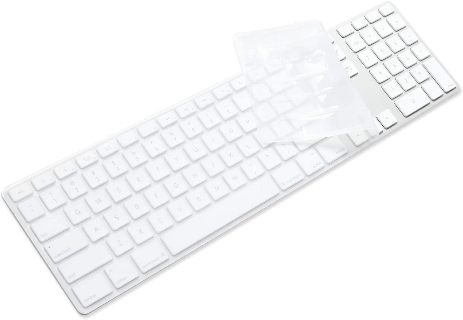 ProElife Silicone Full Size Ultra Thin Keyboard Cover Skin for Apple iMac Keyboard Numeric Keypad Wired USB MB110LL/B-A1243 (NOT FIT Magic Keyboard, ITEM FOLDED IN PACKAGING) (Clear)