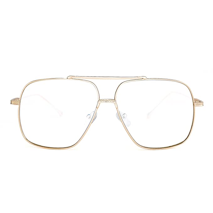 b82aee0ae5 Image Unavailable. Image not available for. Color  Oversize Aviator  Sunglasses Gradient Clear Lens Pilot Metal Eyeglasses Men Women ...