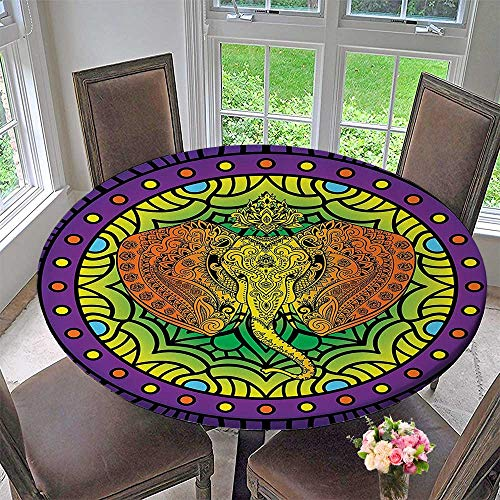 (Mikihome Round Polyester Tablecloth Table Cover Elephant Head Inside MandalaUnique Oriental Modern Age StreArt 55