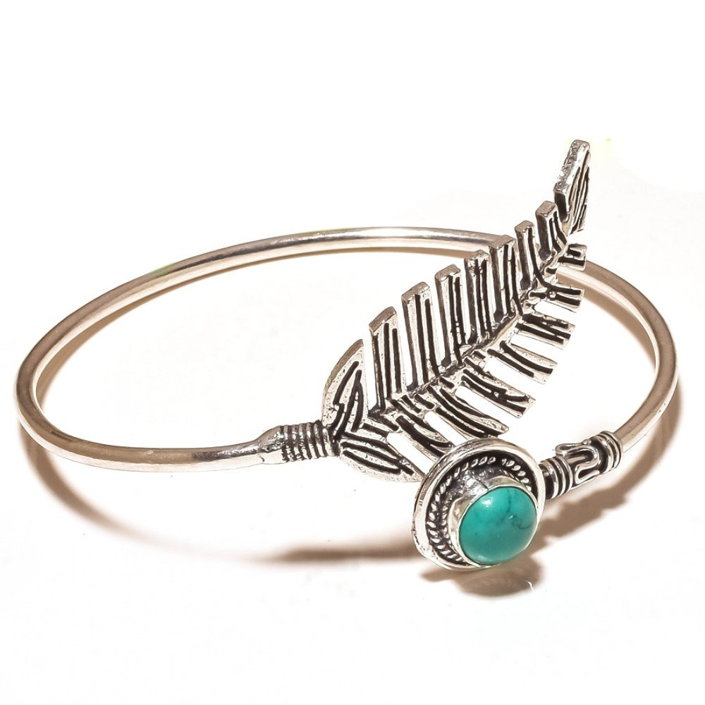 Blue Turquoise Sterling Silver Overlay 16 Grams Bangle//Bracelet Free Size New Jewelry