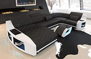 Leder Sofa Wohnlandschaft Swing U Form Couch Mit Usb Anschluss Und