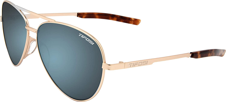 Amazon Com Tifosi Optics Shwae Aviator Sunglasses Gold Smoke Bright Blue Clothing