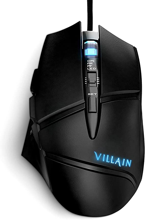 [Patented] Villain Gaming Computer Mouse with 7 Changing LED Lights Optical Wired Mouse Have Easy DPI Switch Control and 9 Programmable Buttons - High Precision & Accuracy