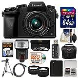 Panasonic Lumix DMC-G7 4K Wi-Fi Digital Camera & 14-42mm Lens (Black) with 64GB Card + Case + Flash + Battery + Tripod + Tele/Wide Lens Kit