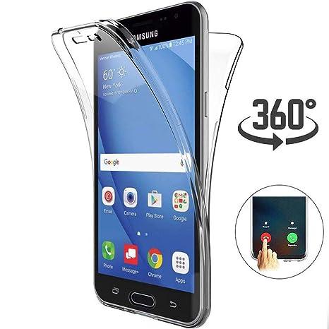 Ptny Transparente Funda Compatibles Samsung Galaxy J3 2016 Carcasa, [360° Full Body Cubierta] Suave TPU+Espalda Desnuda PC Protector Estuche Bumper ...