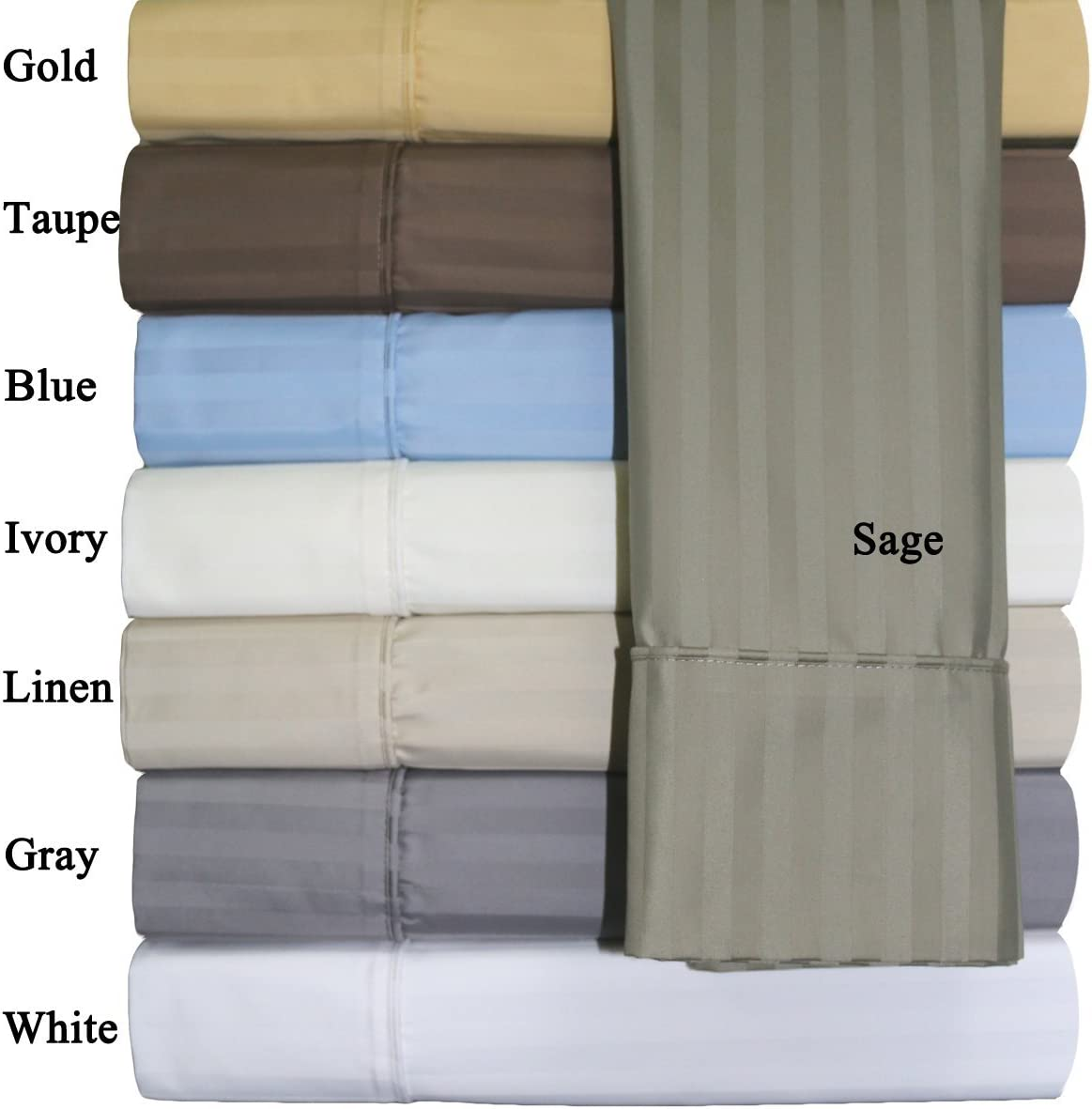 Split-King: Adjustable King Size Ivory Cotton-Blend Wrinkle-Free Sheets 650-Thread-Count Stripe Sheet Set