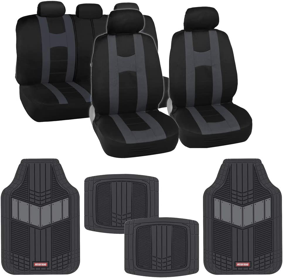 BDK AutoSport Full Set Combo All Protective Seat Covers (2 Front 1 Bench) with Heavy-Duty All-Weather Rubber Floor Mats (4 Mats) for Car Auto – Sedan Truck SUV Minivan