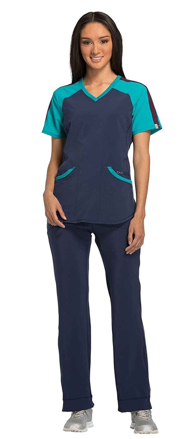 7f8260abfe5 Scrub Set includes the Infinity by Cherokee Women\'s Print Top CK690A & Low  Rise Drawstring Pant 1123A Women\'s Round Neck scrub top features 2 patch  ...