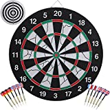 AUGYMER Dart Board, Double Sided Dart Boards with 12 Brass Darts 18 Inch Professional Game Dart Board Steel Tip Dartboard