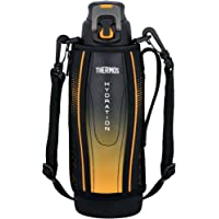 Thermos Stainless Steel Sports Bottle with Pouch, 1L, Black
