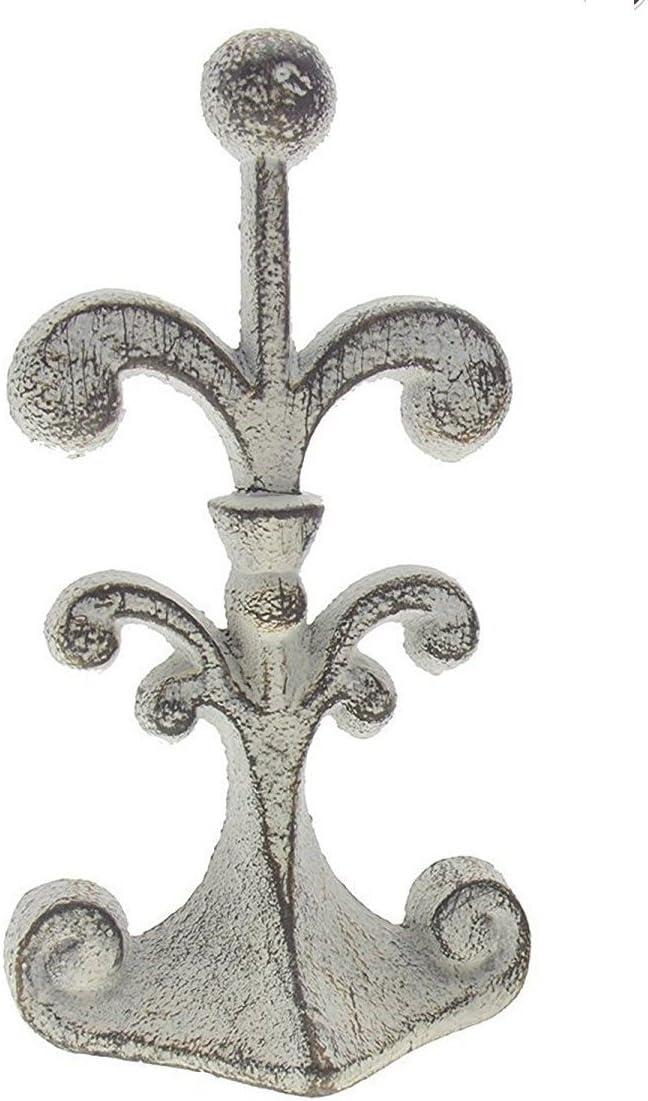 ComfifyFlor De lis Puerta de Hierro Fundido | Cuña de tapón de Puerta Decorativa | con Fondo de Fieltro antiarañazos Acolchado | Diseño Vintage - Blanco